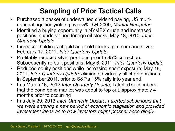Sampling of Prior Tactical Calls