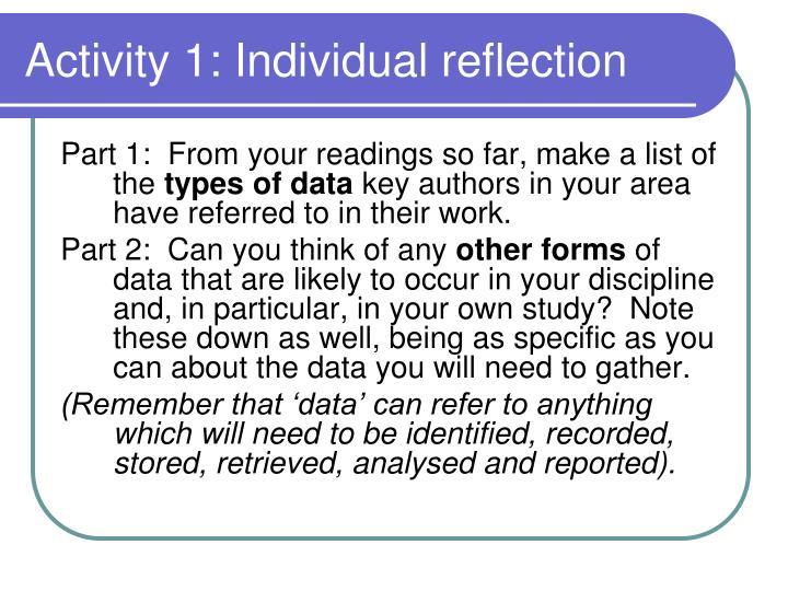 Activity 1: Individual reflection