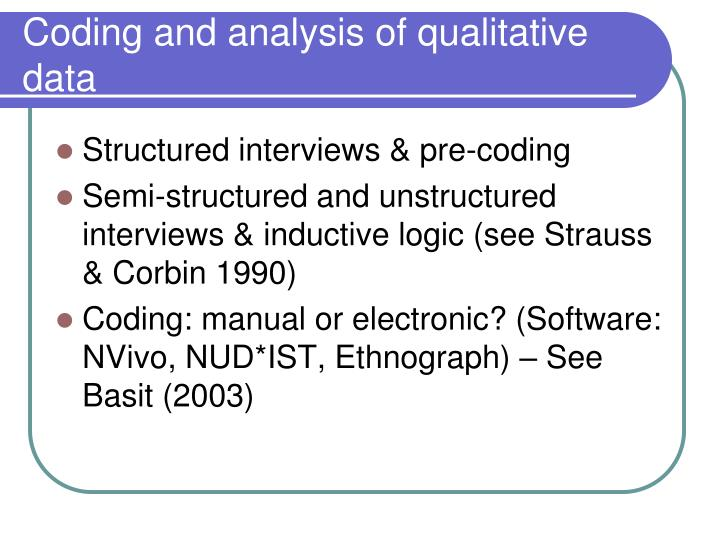 Coding and analysis of qualitative data