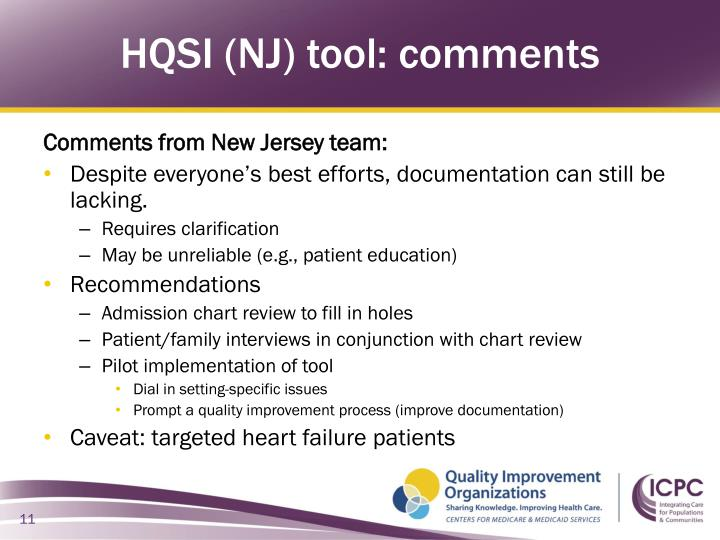 HQSI (NJ) tool: comments
