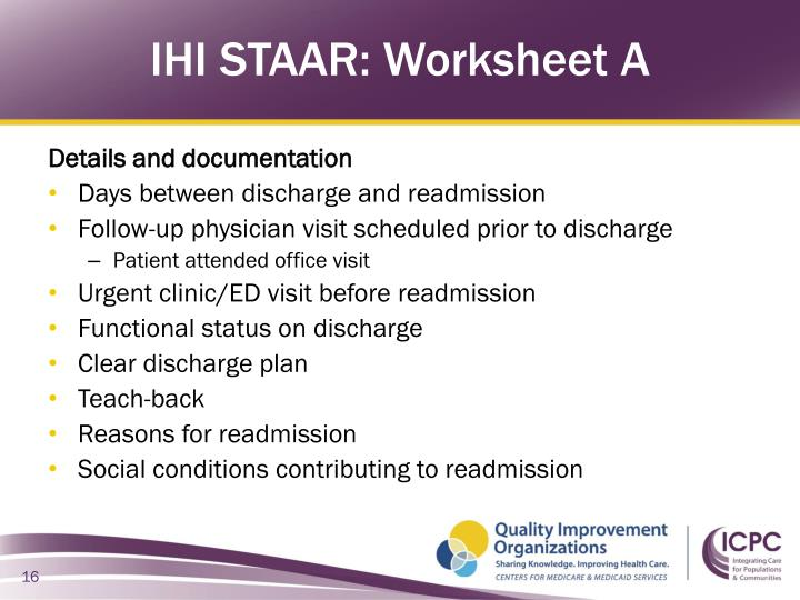 IHI STAAR: Worksheet A