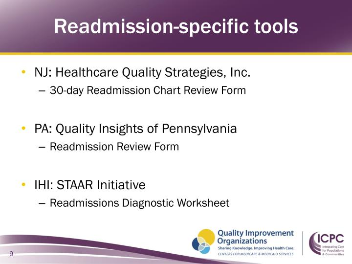Readmission-specific tools
