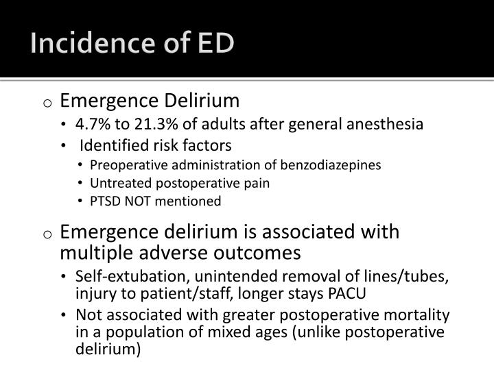 Incidence of ED