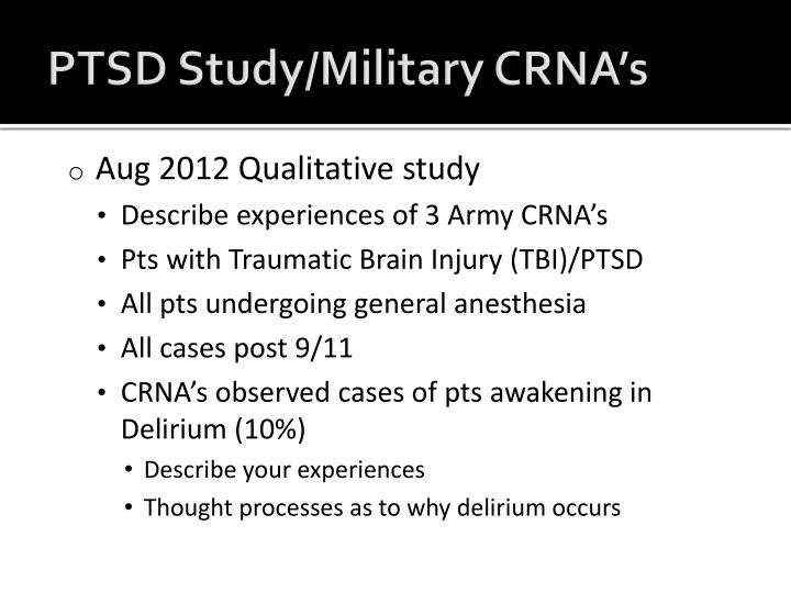PTSD Study/Military CRNA's
