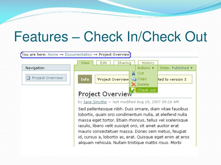 Features – Check In/Check Out