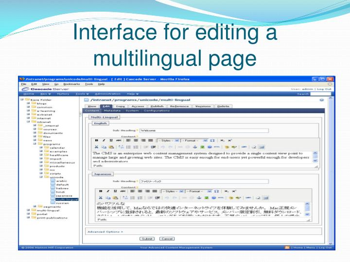 Interface for editing a multilingual page