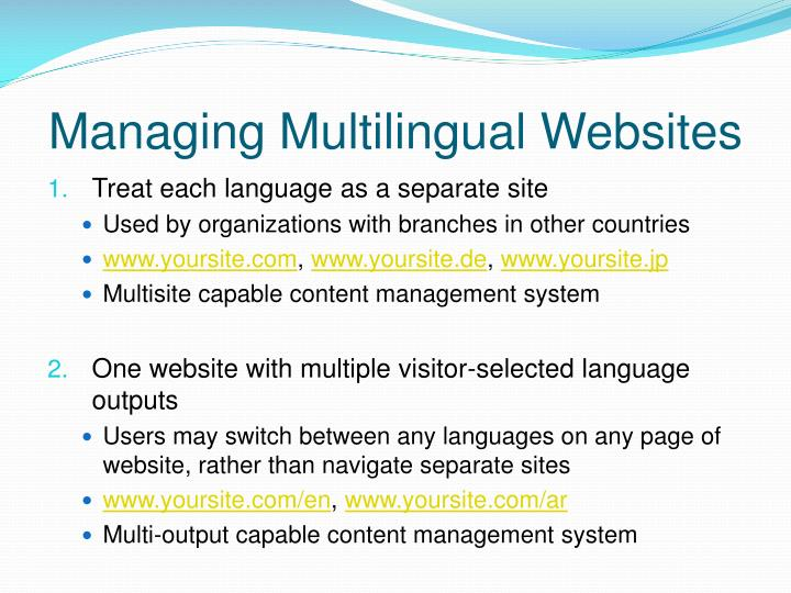 Managing Multilingual Websites