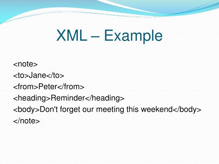 XML – Example