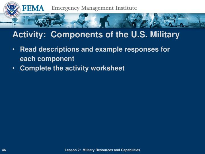 Activity:  Components of the U.S. Military