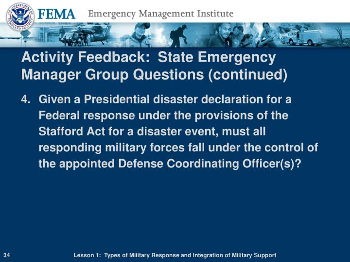Activity Feedback:  State Emergency Manager Group Questions (continued)