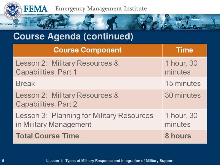 Course Agenda (continued)