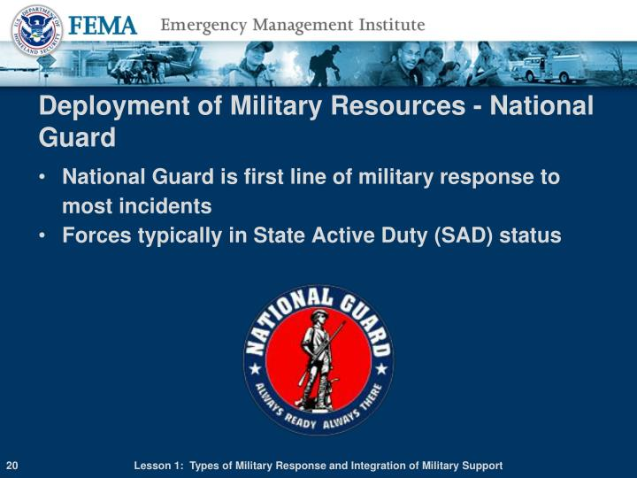 Deployment of Military Resources - National Guard