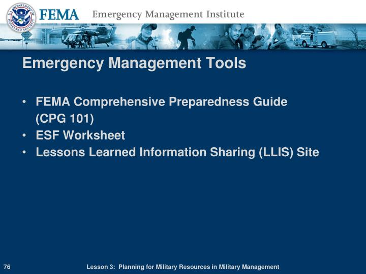 Emergency Management Tools