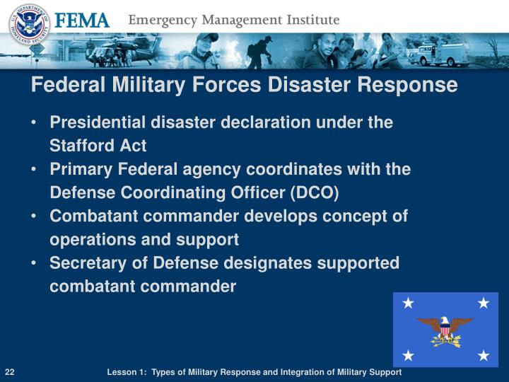 Federal Military Forces Disaster Response