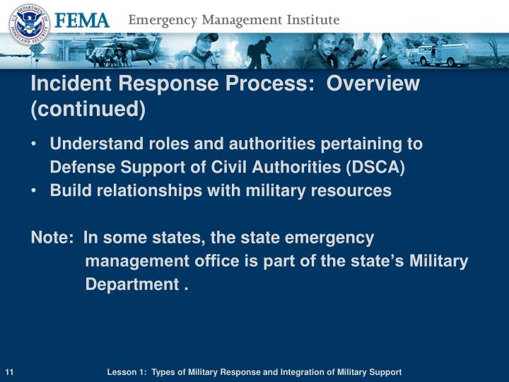 Incident Response Process:  Overview (continued)