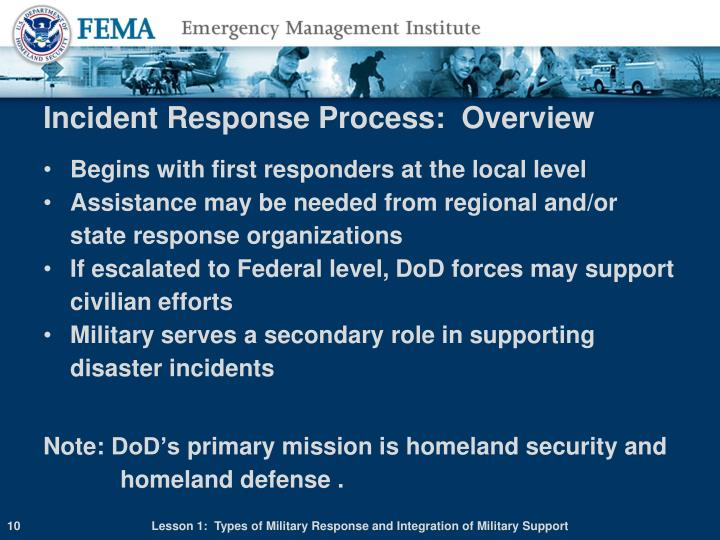 Incident Response Process:  Overview