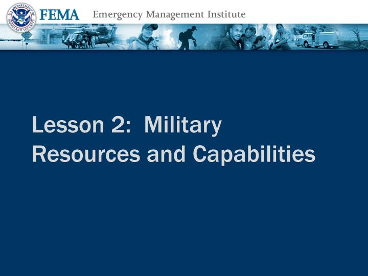 Lesson 2:  Military Resources and Capabilities
