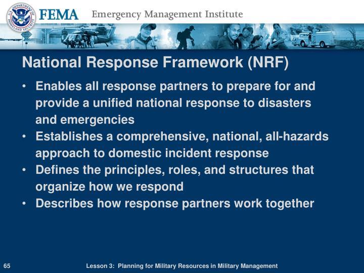 National Response Framework (NRF)