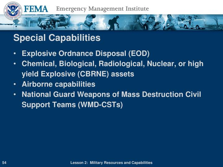 Special Capabilities