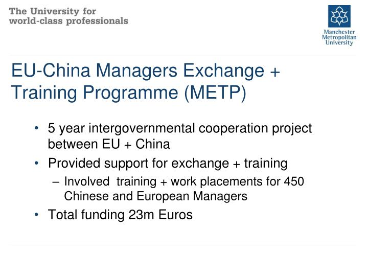 Eu china managers exchange training programme metp