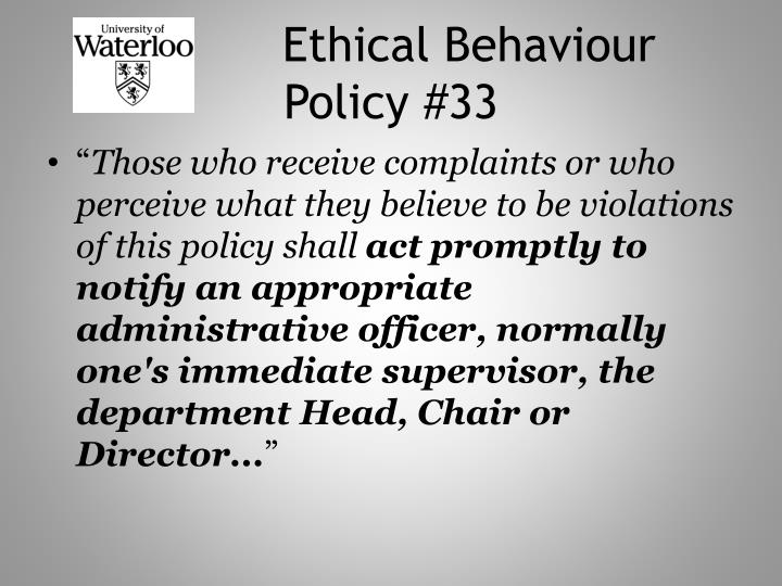 Ethical Behaviour