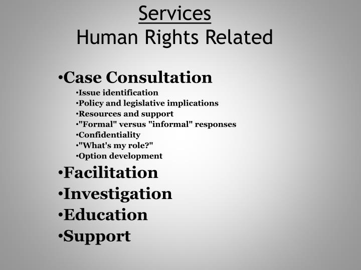 Services human rights related