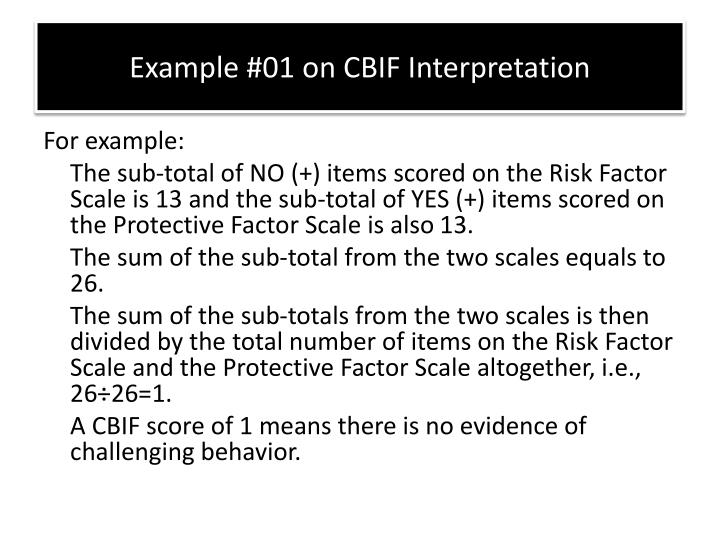 Example #01 on CBIF Interpretation