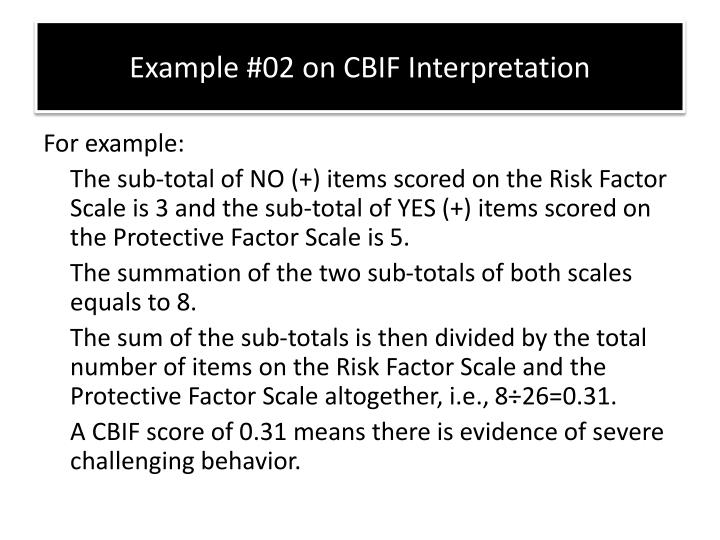 Example #02 on CBIF Interpretation