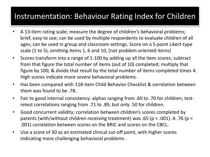 Instrumentation: Behaviour Rating Index for Children