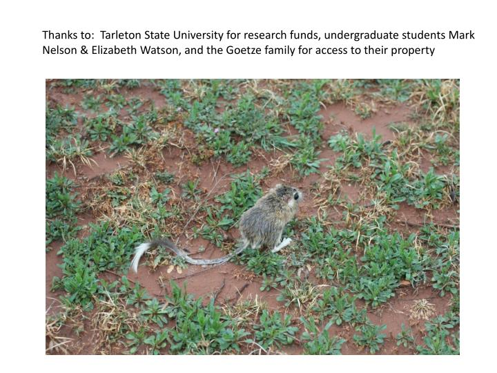 Thanks to:  Tarleton State University for research funds, undergraduate students Mark