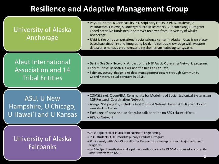 Resilience and adaptive management group