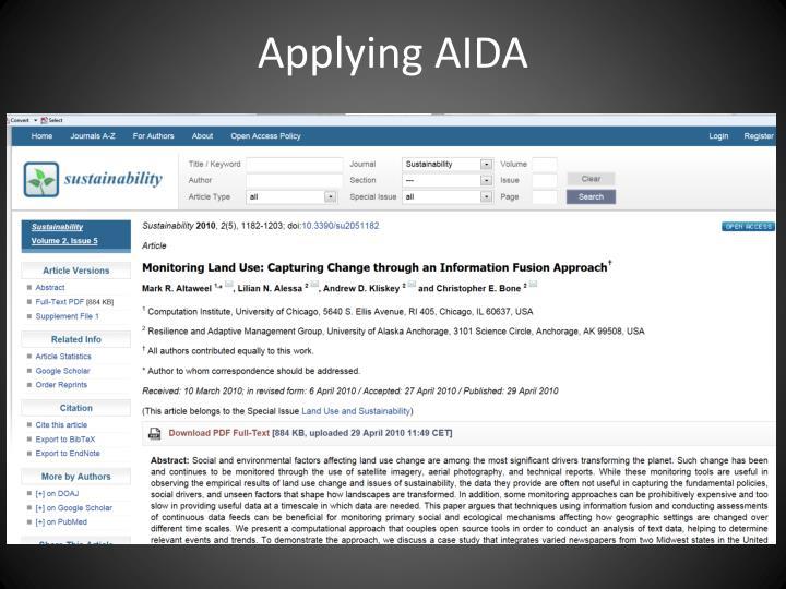 Applying AIDA