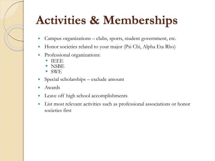 Activities & Memberships
