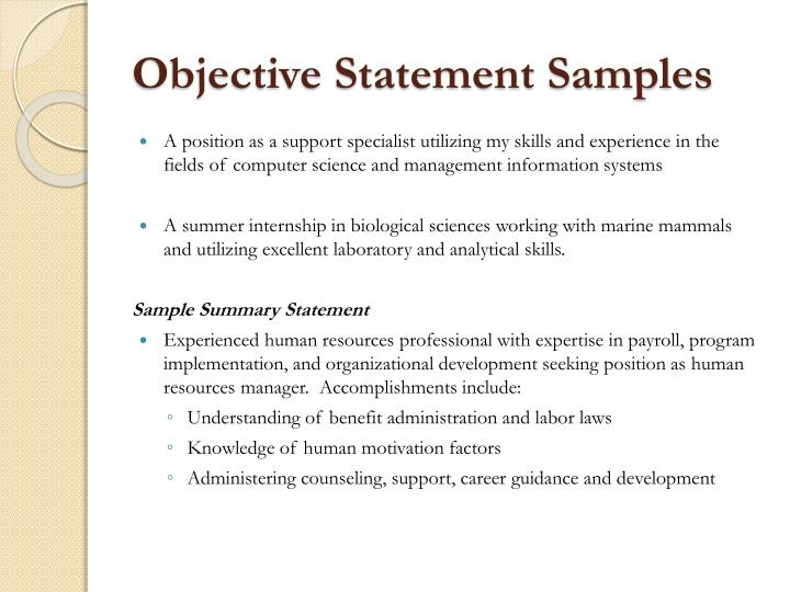 Objective Statement Samples