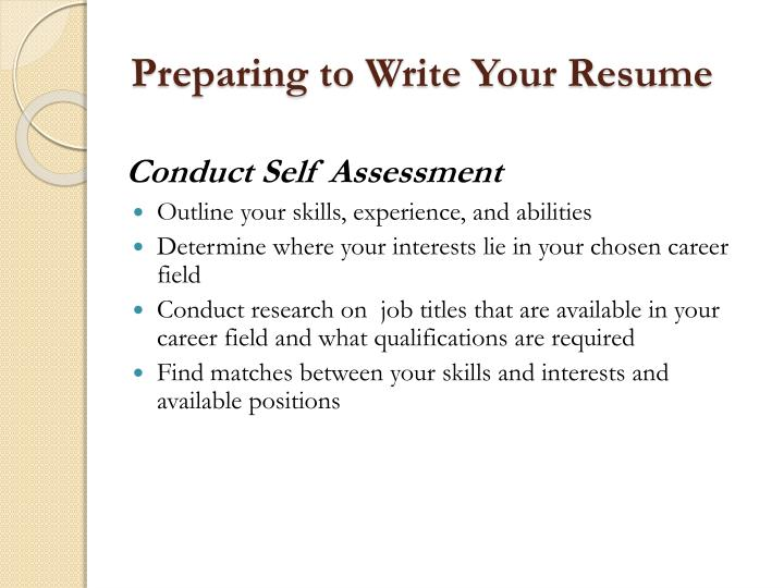 Preparing to Write Your Resume