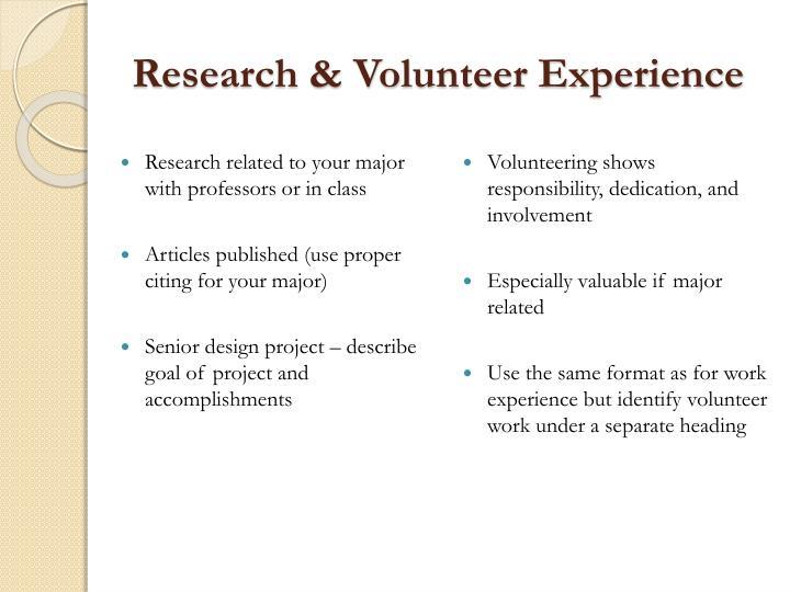 Research & Volunteer Experience
