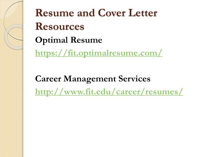 Resume and Cover Letter Resources