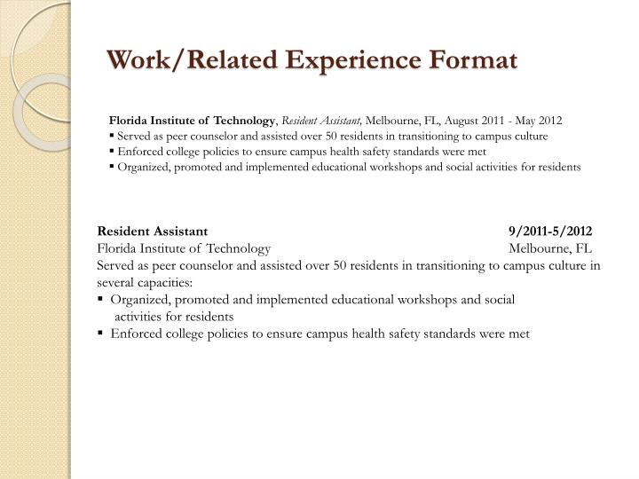 Work/Related Experience Format