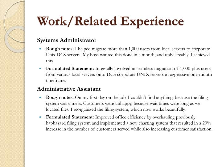 Work/Related Experience