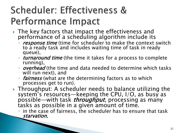 Scheduler: Effectiveness & Performance Impact