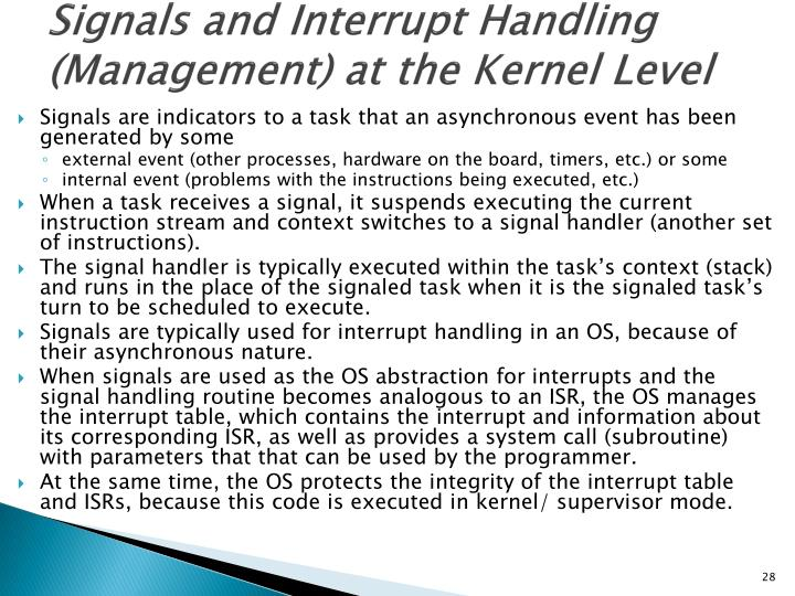 Signals and Interrupt Handling (Management) at the Kernel Level