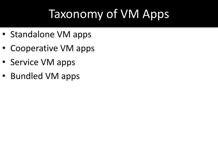 Taxonomy of VM Apps