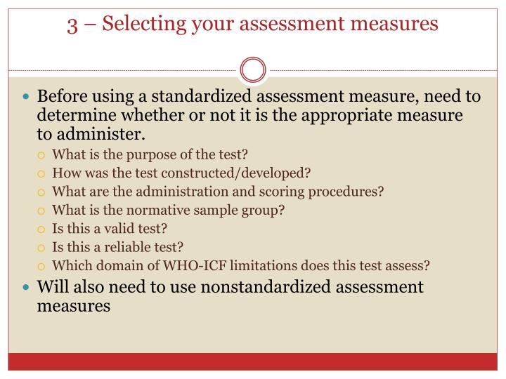 3 – Selecting your assessment measures