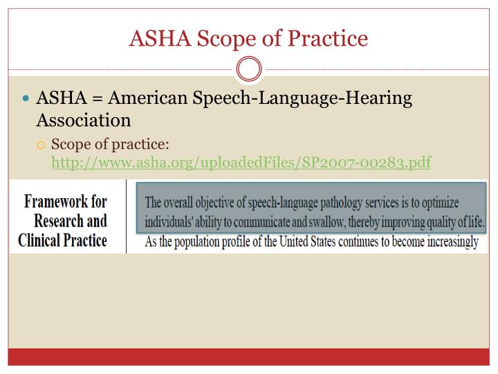 Asha scope of practice