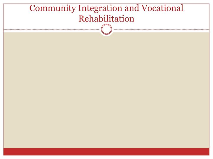 Community Integration and Vocational Rehabilitation