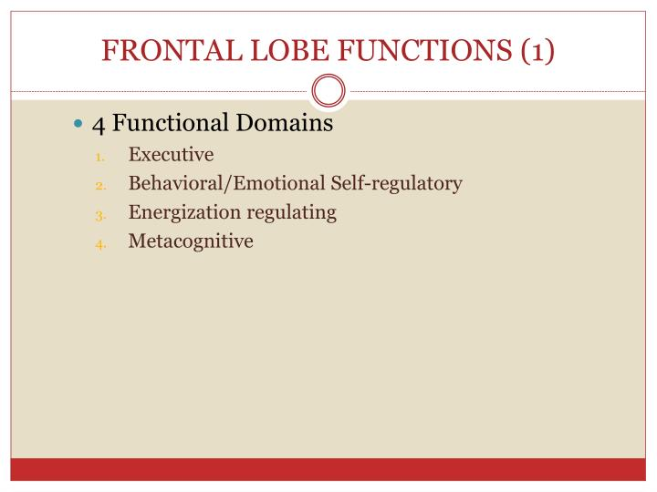 FRONTAL LOBE FUNCTIONS (1)