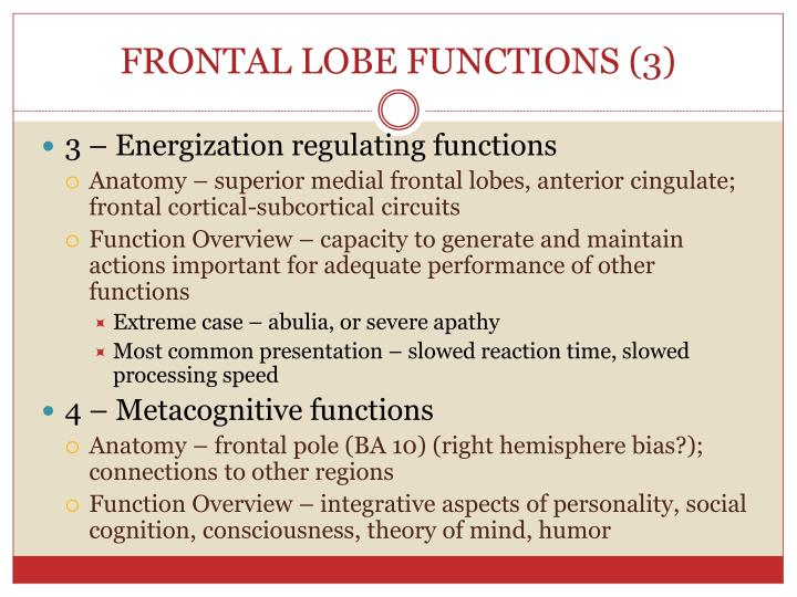 FRONTAL LOBE FUNCTIONS (3)