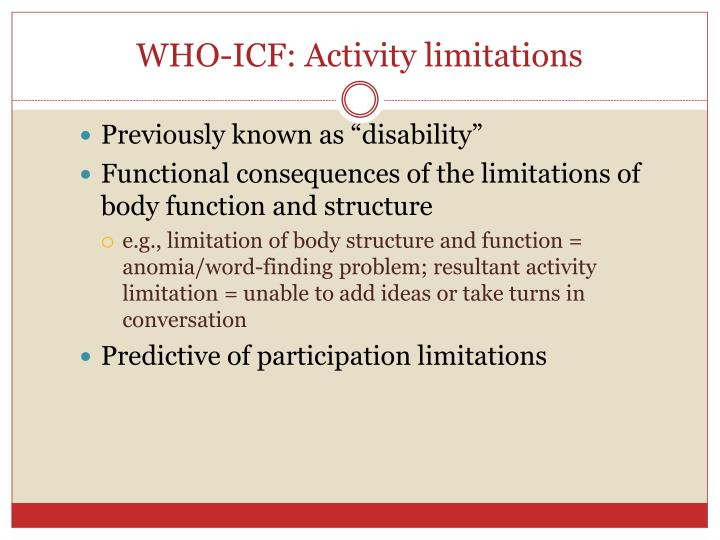 WHO-ICF: Activity limitations