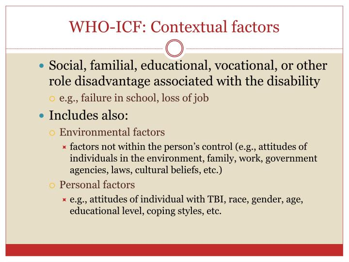 WHO-ICF: Contextual factors