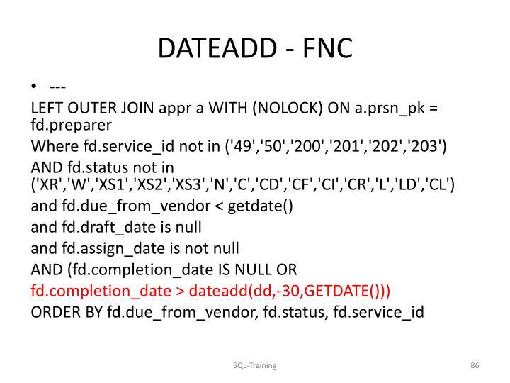 DATEADD - FNC